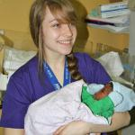 Babies being born, including by C-Section, is the primary function of the hospitals where we do missions. Our scholarship student gets to hold a newborn.
